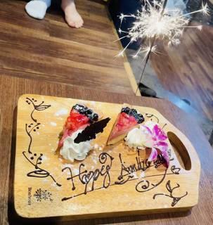 花火付きケーキ