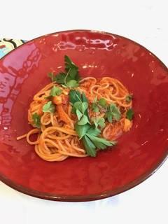 ズワイガニのアラビアータソース スパゲッティ