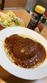 ミートソースハンバーグスパゲティ