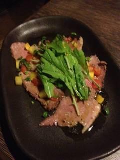 カルビ de ローストビーフ ~茸とすりおろし野菜のソース~