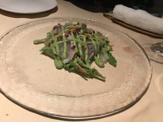 本日の天然鮮魚のカルパッチョ 土佐酢のジュレ添え