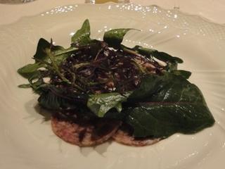 猪のテリーヌ、ラヴィコットソース、赤水菜とセルバチコ
