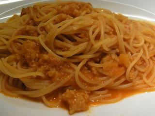 車えびのピリ辛トマトソース スパゲッティー