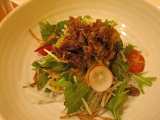 手作り 牛時しぐれ煮と水菜のはりはりサラダ