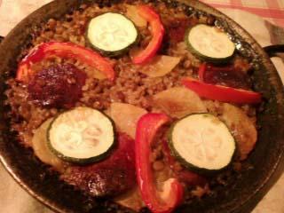レンズ豆とチョリソのパエリア