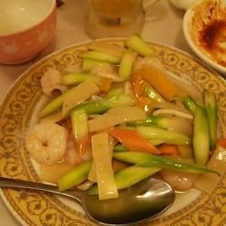 アスパラとエビと野菜の炒め物