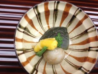 穴子黄身煮、小芋と茄子揚げ