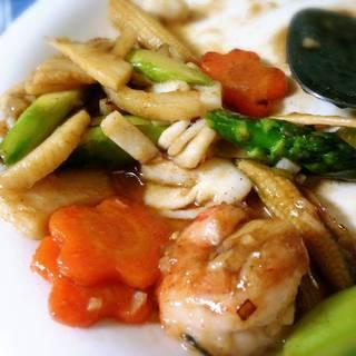 アスパラ海鮮炒め