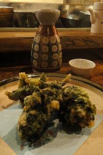 牡蠣とあおさの天麩羅