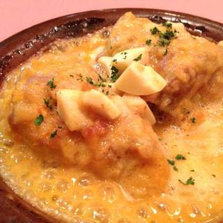 若鶏とポルチーニ茸のエスパニョーラソース煮