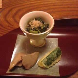 レバーと空芯菜と天ぷら