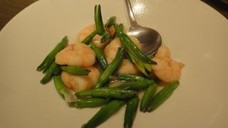 大正海老とフレッシュ金針菜の清湯塩味炒め