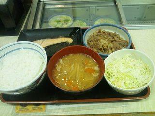 牛鮭サラダ定食