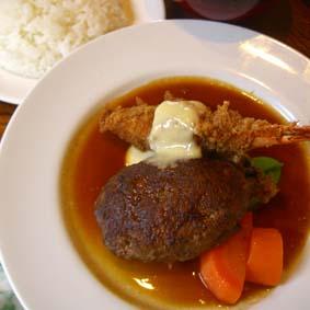 ハンバーグステーキ&エビフライ定食