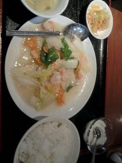 白菜と海老の塩炒め定食