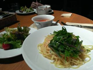 水菜とたらこのスパゲティ