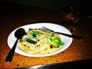 旬野菜と厚切りベーコンのペペロンチーノ