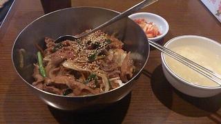 豚プルコギ丼+カクテキ+たまごスープ