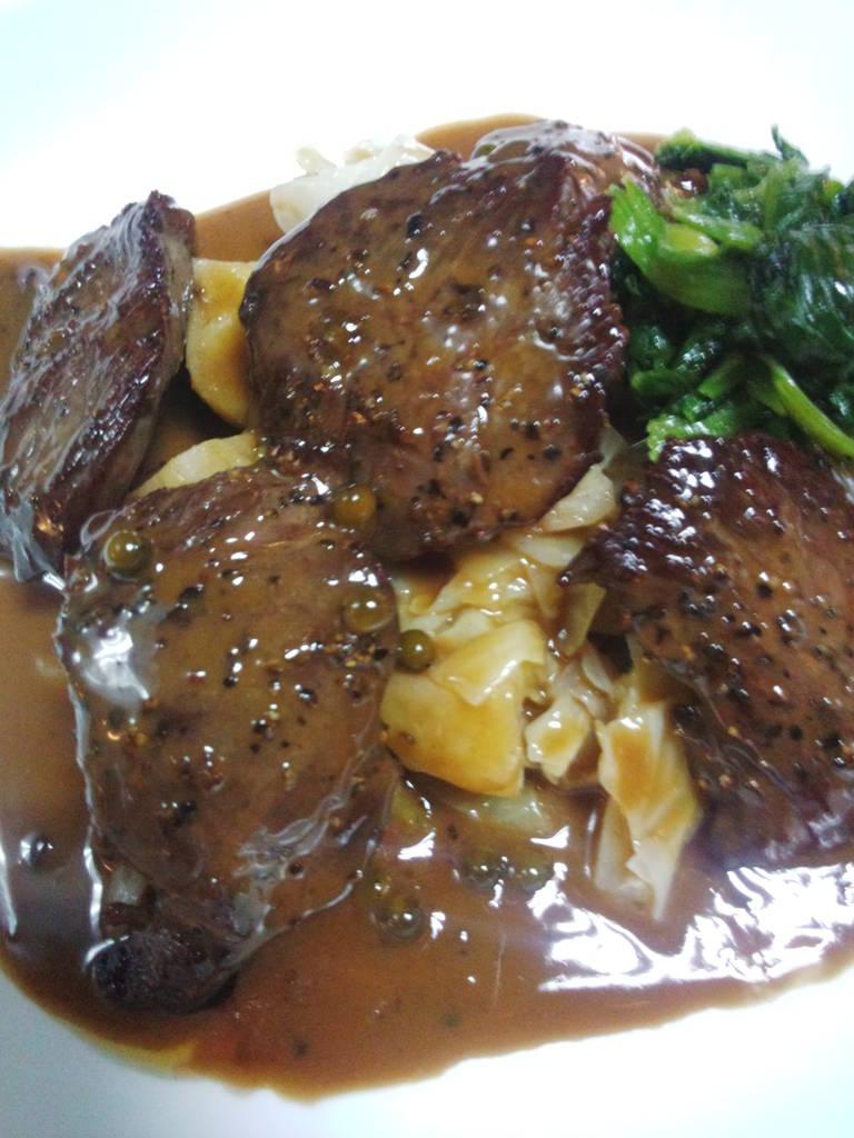 牛ハラミのステーキ マスタードソース