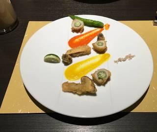 鱧と白オクラ・松茸の天麩羅