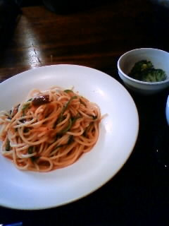 桜海老と空心菜のペペロンチーノ
