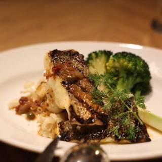 シェフおすすめの本日のお魚料理(スズキのグリルと花びら茸)