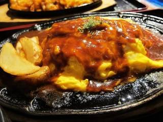 オムレツハンバーグ チーズ入り 定食