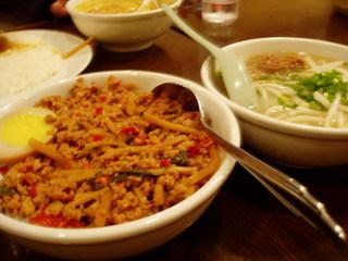 豚肉バジル丼+小そば