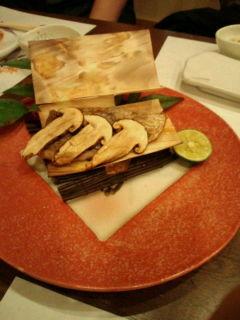 松茸と白身魚の杉板焼き
