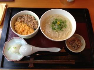 葱煮麺と二色丼