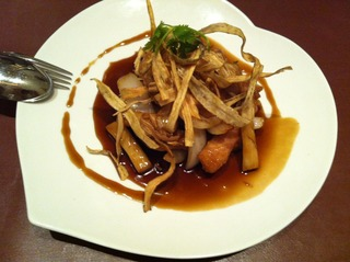 根菜入り黒酢の酢豚
