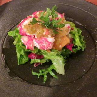 活オマール海老と有機野菜のサラダ