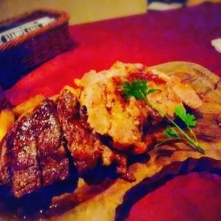 ブラックアンガス牛のワイルドステーキ ローストガーリックソース