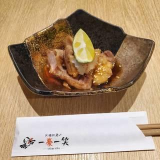 お通し 福井県の地鶏、福地鶏のたたき風