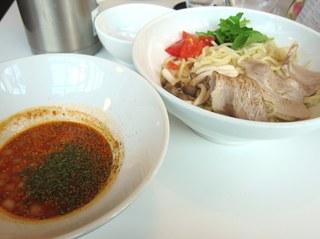 ピリ辛チゲつけ麺(大盛)+ミニ甘味セット