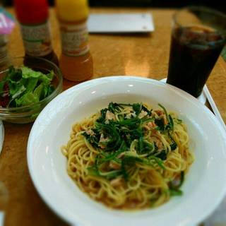 鮭と小松菜のスパゲッティ