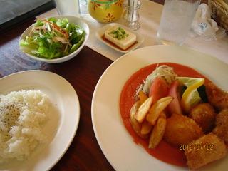 ホタテと魚のフライ ランチ
