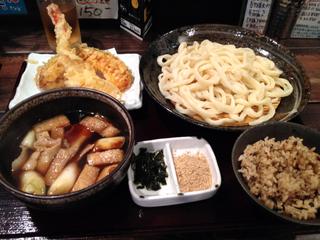 肉ネギつけ汁うどん+野菜天ぷら+かやく御飯+お新香