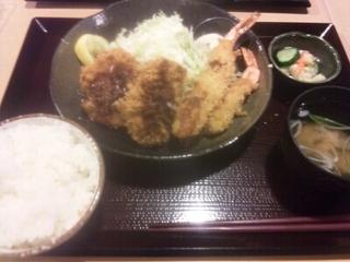 ひれ、海老フライ定食