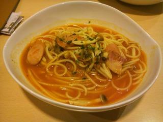 ベーコンとキノコのピリ辛トマトスープスパゲッティ
