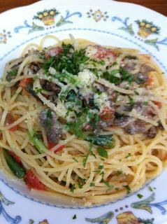豚バラ肉と小松菜のスパゲッティ