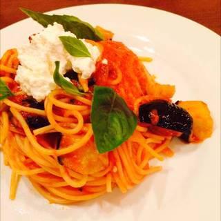 最上伝承野菜 畑なすと自家栽培バジルのトマトスパゲッティ