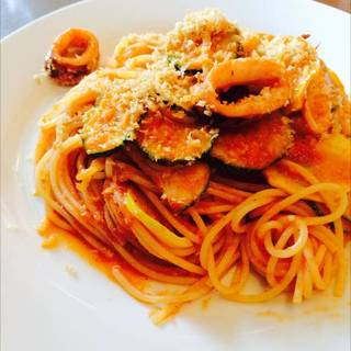 夏イカとうらの野菜のスパゲッティ