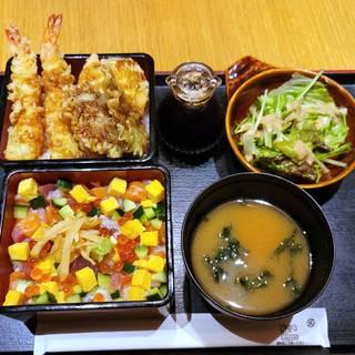 海老と野菜の天婦羅と海鮮バラちらし二段重御膳