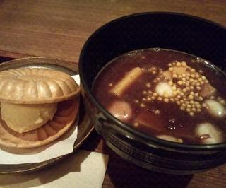 芋餅のあったか汁粉と最中アイス