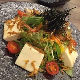 ちりめん山椒と胡麻ドレ豆腐サラダ