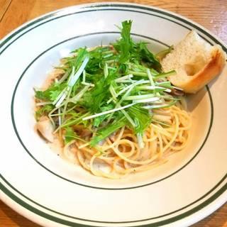ポルチーニ茸とチキンのクリームソーススパゲッティ
