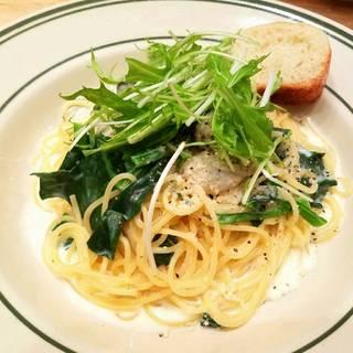 牡蠣とホウレン草のクリームソーススパゲッティー
