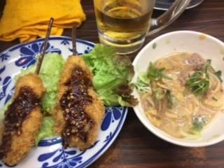 牡蠣の串カツ&どて焼