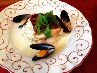 鯛のポワレ 里芋のリゾット添え